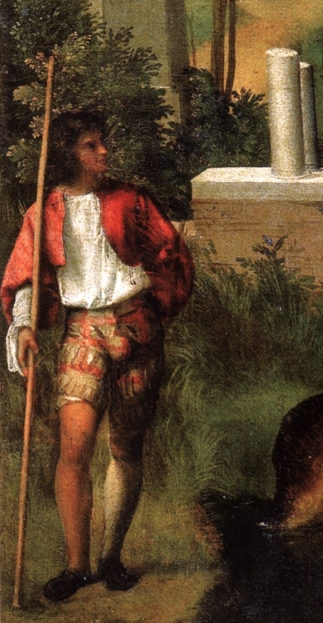 Hose and shirt. Painting by Giorgione: Male figure, detail,The Tempest