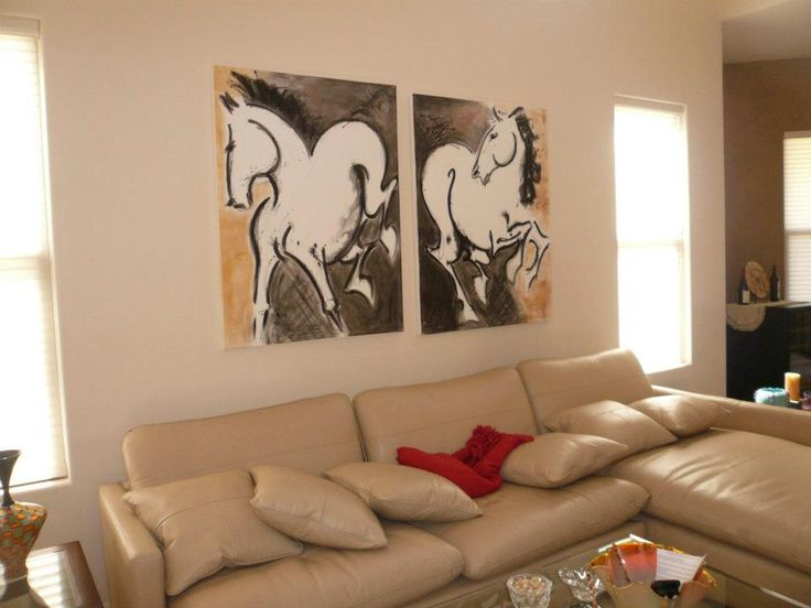 Horse Paintings On The Wall Modern Artist Mixed Media Corporate Hospitality