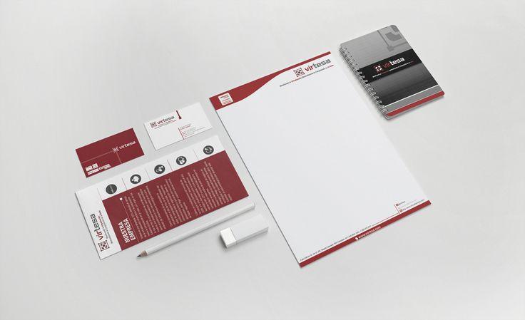 Diseño de Papelería Virtesa (logo, membrete, tarjeta de presentación, carnet, brochure y cuaderno)