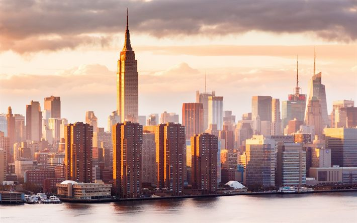 Download wallpapers New York, Empire State Building, morning, dawn, fog, skyscrapers, Turtle Bay