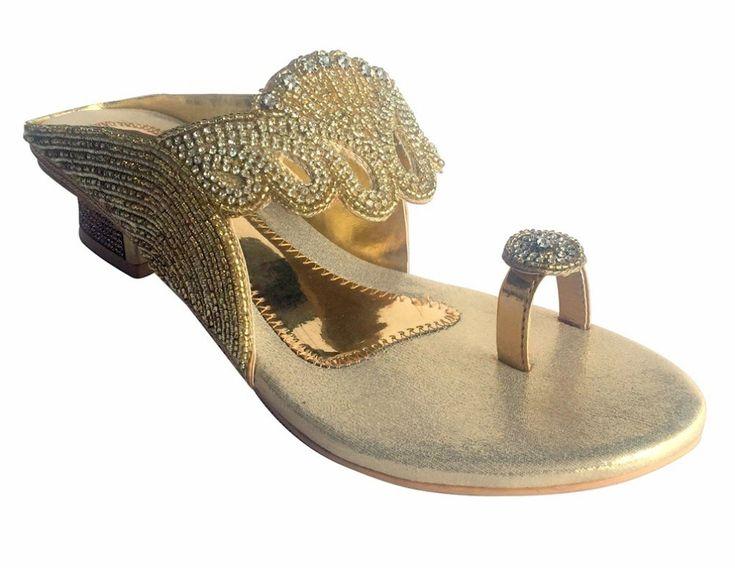 Us Ladies Indian Bollywood Bridal Shoes Heels Sandals Slip Ons Khussa Juti Dd460