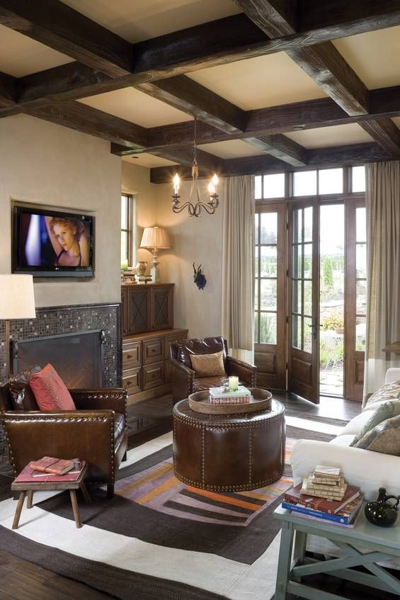 Cottage in the Trees - traditional - living room - portland - Alan Mascord  Design Associates Inc - I like the ceiling - Matt