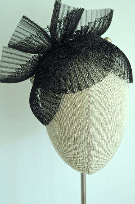 Black Cocktail Hat Fan Dance Fascinator  MaynardMillinery #millinery #judithm #hats pleated horsehair