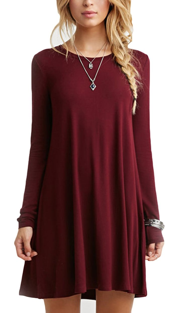 SheIn Women's Wine Red Oxblood Long Sleeve Casual Babydoll Dress (XS, Color Red)