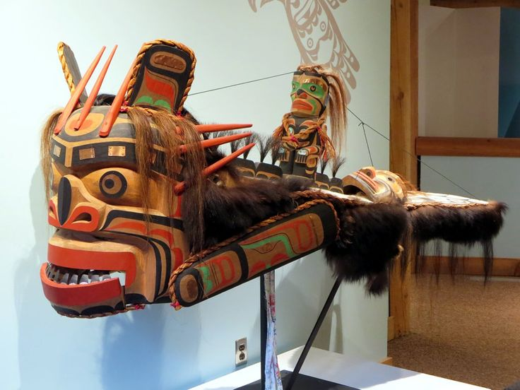 A Kwakwaka'wakw sea monster mask at the U'mista Cultural Centre, Alert Bay, British Columbia, Canada. This halibut-like figure embodies the origin story of the 'Namgis people.