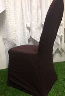 Brown Stretch Standard Conference Chair Cover. www.tableclothhiring.co.za
