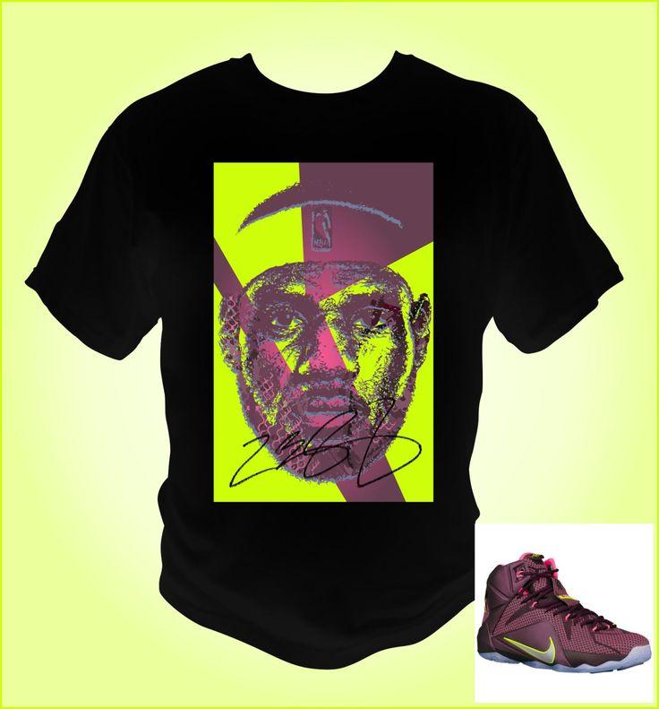 Lebron James 12 Black T-Shirt Merlot/Volt/Pink Pow/Metallic Silver Theme by NuelifeGraphics on Etsy