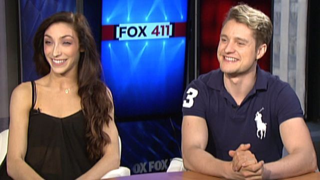 Meryl Davis and Charlie White being interviewed by Fox 411, NYC, during Puffs promotional week