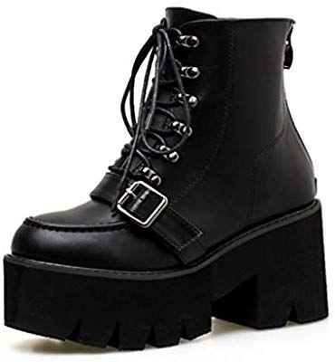bb8ba12e42ed9 Amazon.com: SHANGWU Women Ladies Block Chunky Mid Heel Biker Boots ...