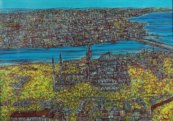 illustrations of istanbul, turkey, paintings, art travel, europe