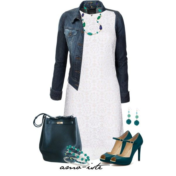 """White dress & denim jacket"" by amo-iste on Polyvore"