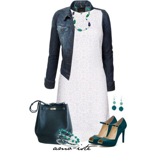 """White dress & denim jacket"" by amo-iste on Polyvore"