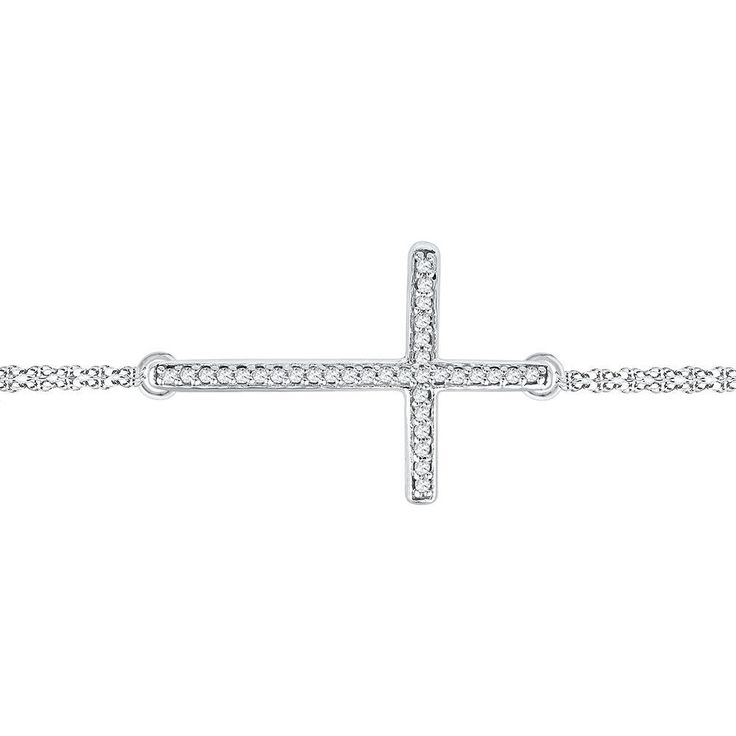 10kt White Gold Womens Round Diamond Sideways Cross Bracelet 1/10 Cttw
