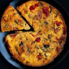 Souttert recipe  2 eggs 15 ml olive oil 1 tbsp butter 1 onion  200g salami 10 peppadews 150g mushrooms ½ tsp salt 250 ml Cheddar cheese grated 200 ml milk 45 ml cornflour  Heat the olive oil and butter together in a pan. Add chopped onion and fry for a few min. Add the salami peppadews mushrooms salt. Mix the milk, eggs, cornflour, cheese and salt together. Add the mixture from the frying pan into baking dish add the milk mixture. Mix together. Place bowl in oven at 180 for 25min