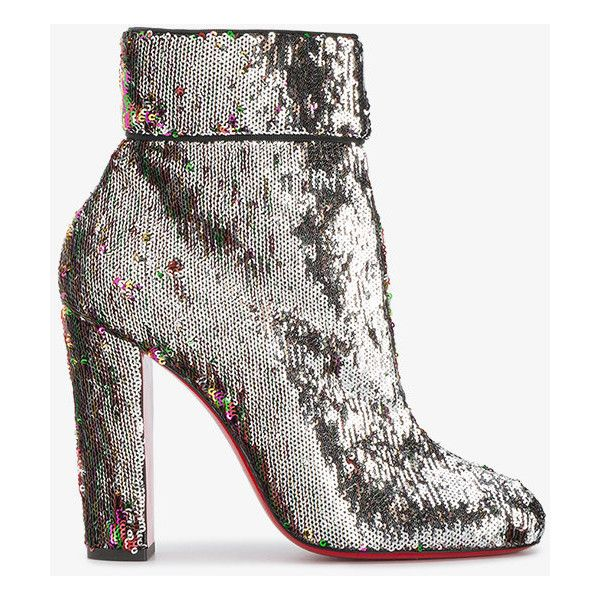 Christian Louboutin Moulamax 100 Sequined Ankle Boots ($1,050) ❤ liked on Polyvore featuring shoes, boots, ankle booties, metallic, leather boots, leather ankle booties, metallic boots, bootie boots and sequin booties