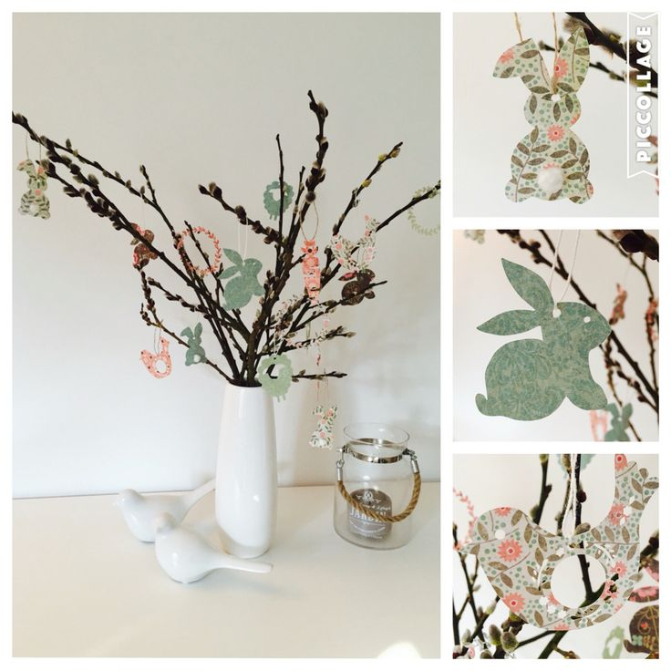 Easter Time: bunch of willow catkin with bunny, birds, sheep and Co