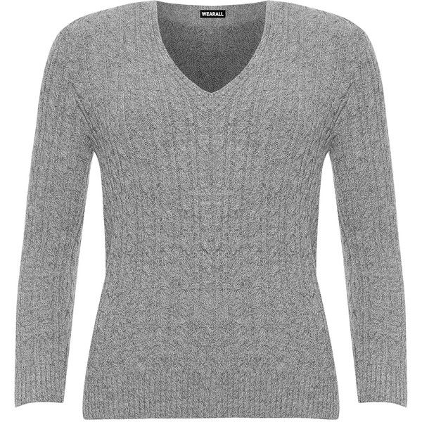 WearAll Plus Size Cable Knit Long Sleeve Knitted Jumper (€23) ❤ liked on Polyvore featuring tops, sweaters, light grey, plus size long sleeve tops, cable knit sweater, women's plus size tops, v neck cable knit sweater and womens plus size sweaters