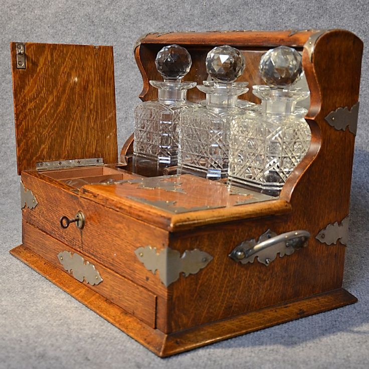 Antique Tantalus Oak Triple Decanter Set Fine Quality