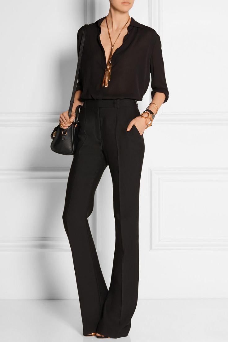 Alexander McQueen | Wool and silk-blend flared pants | NET-A-PORTER.COM