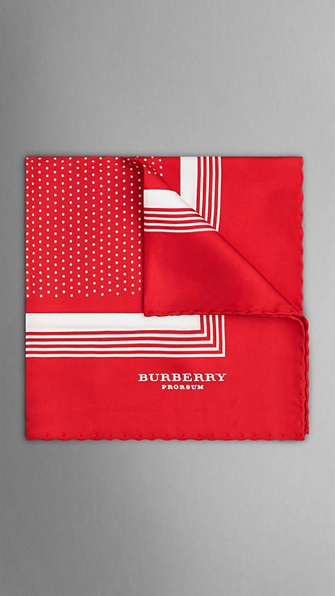 $195, Framed Dot Print Silk Pocket Square by Burberry. Sold by Burberry. Click for more info: http://lookastic.com/men/shop_items/11831/redirect