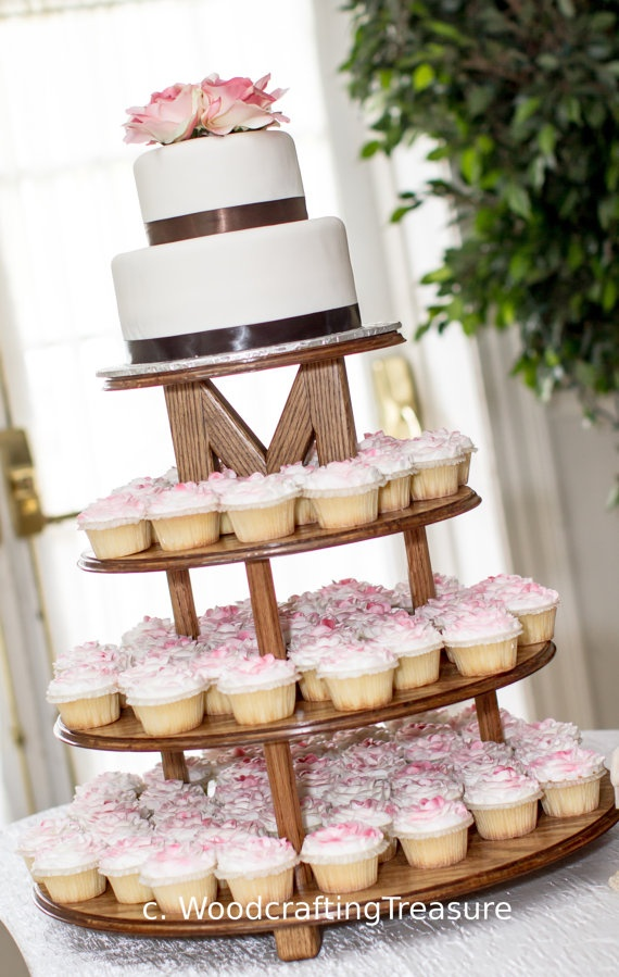Wedding Cake and Cupcake Stand by WoodcraftingTreasure on Etsy, $250.00