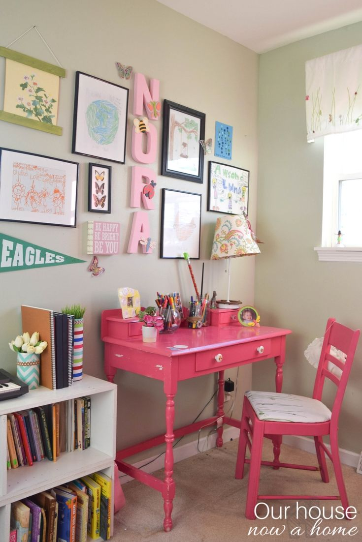 Bright & colorful girl bedroom- small changes with a big impact. Bright and colorful girl bedroom - simply, low cost, and filled with DIY ideas to decorate on a budget! Tons of crafts and simple decorating ideas. Adding the whimsy and sweet to a little girls bedroom.