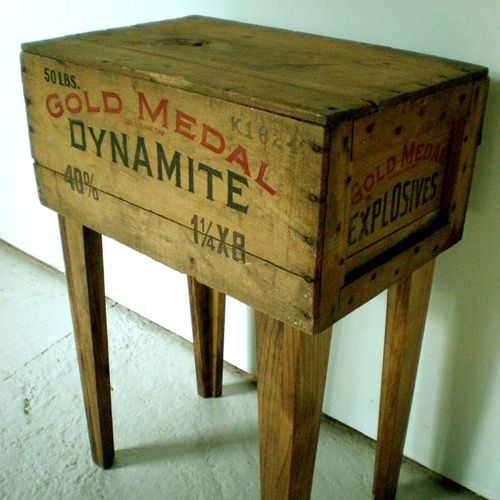 repurposed crate into side table