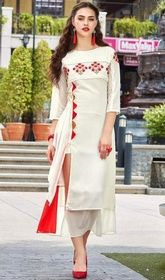 Off White Color Georgette Embroidered Tunic #indiantunicsusa#kurtitunictops Frame your amazing looks owning this off white color georgette embroidered tunic. Beautified with lace and resham work. USD$ 61(Around £ 42 & Euro 46)