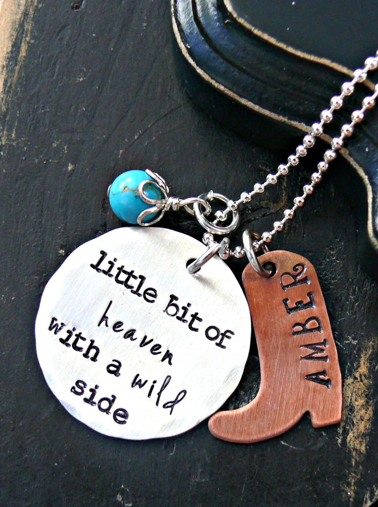 Little Bit Of Heaven Necklace - Personalized Cowgirl Necklace - Personalized Country Necklace - Personalized Cowboy Boot Necklace by yourcharmedlife on Etsy