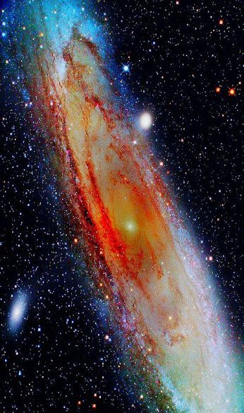 The Andromeda Galaxy is 2 million light years away from us so what we see now is how it appeared 2 million years ago. It will collide with our Milky Way in 2 billions years from now. The two galaxies are heading towards each other at a rate of 430 km/hr.
