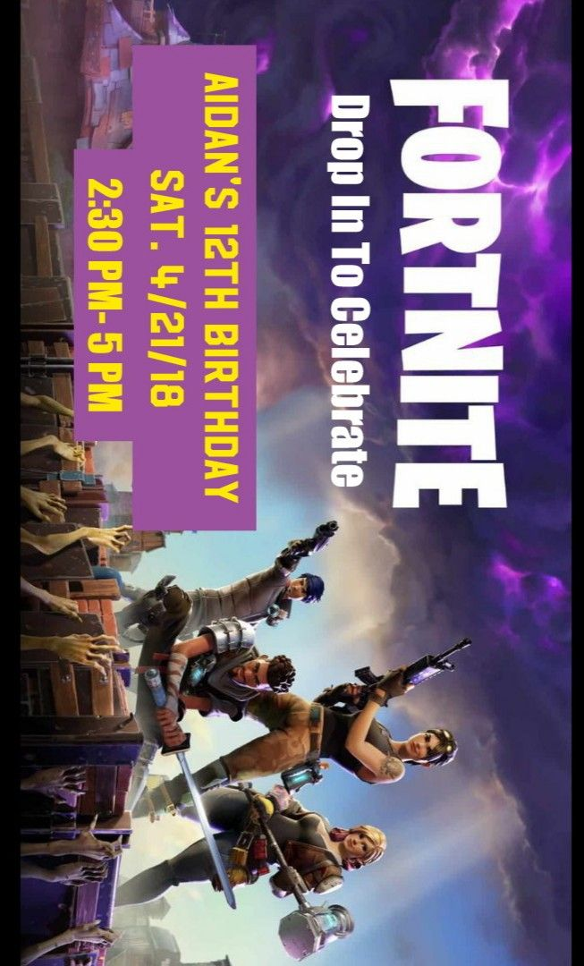 diy invitation for fortnite party  background image from