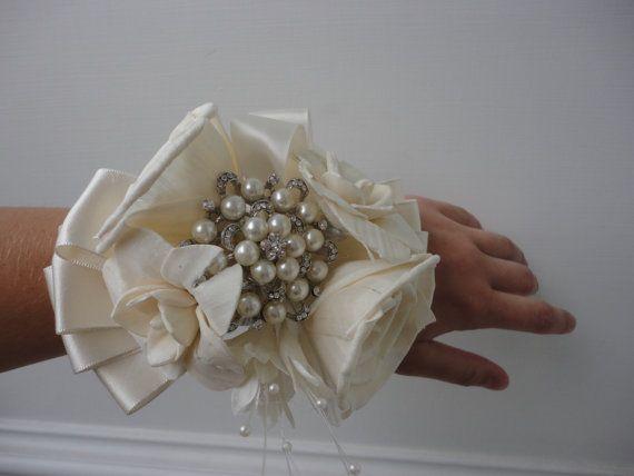 Sola Wood Rhinestone Brooch Bouquet Bridal Rustic by SusieKays, $45.00