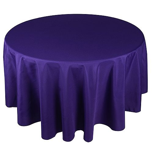 "Purple round tablecloths, size: 90"" made of polyester. Perfect for weddings & any occasions. Wholesale prices available."