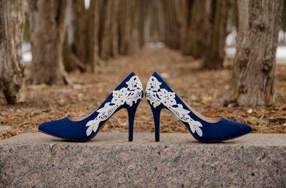 Navy Heels, Blue Wedding Shoes Navy Pumps, Lace Heels by walkin on air