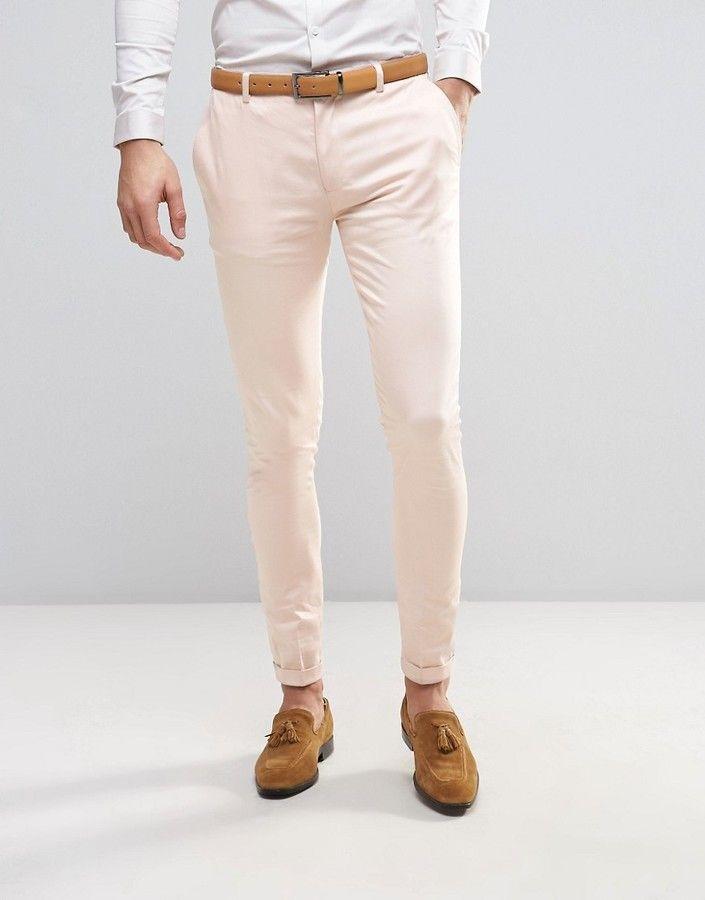 ASOS WEDDING Super Skinny Smart Pants with Turn Up