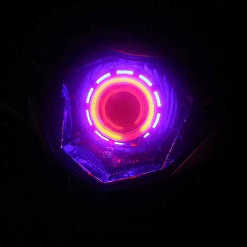 12V Hi/Lo Beam Led Projector Lens Headlight Kit with Angel Eyes & Devil eyes for Motorcycle