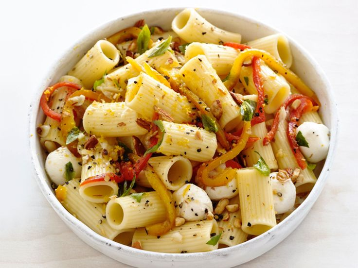 Roasted-Pepper Pasta Salad : Fresh roasted bell peppers and cute bite-sized balls of mozzarella make this a standout summer salad.