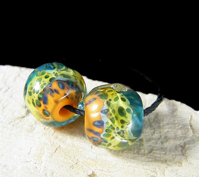 Handmade Lampwork Beads - Earring Pairs ~ Organic Texas 2 Step-Southwest-Boho-Lampies by ShimmerBeadsDesign on Etsy https://www.etsy.com/listing/514307855/handmade-lampwork-beads-earring-pairs