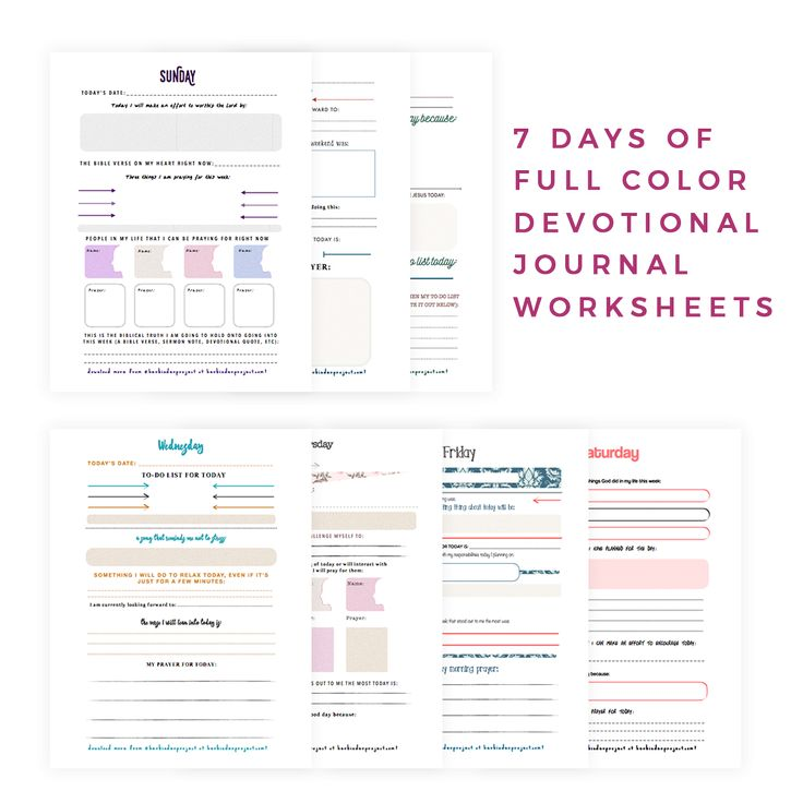 – 7Days of Full Color Devotional Journal Worksheets (Sunday – Saturday) – Use it by itself or with your free devotional calendar pack from Her Binder Project –