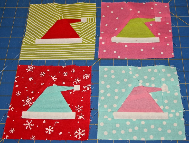 Paper Pieced Santa Hat Christmas Quilt Block