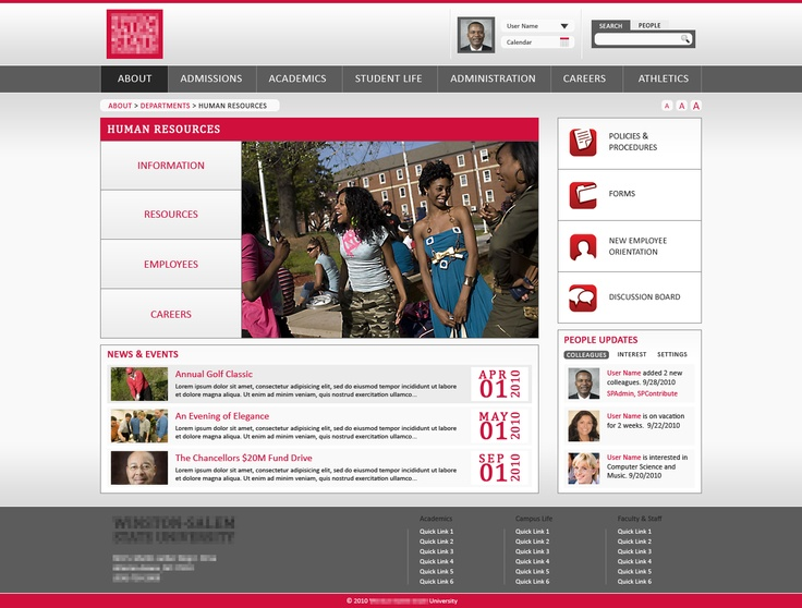 sharepoint 2010 branding university intranet design