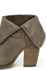 """All those admiring looks and second glances are sure to be directed at the Sbicca Chord Taupe Fold-Over Boots! Tumbled vegan suede slopes from a rounded toe to a 7"""" shaft that can be worn up (fastened with a snap) or folded over to create a cute asymmetrical collar."""