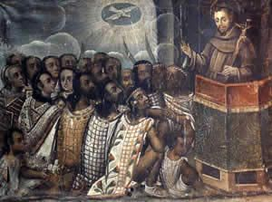 El mensaje de este cuadro es como los Españoles y Europeos llevaban a cabo su objetivo de evangelizar a los indigenas de America