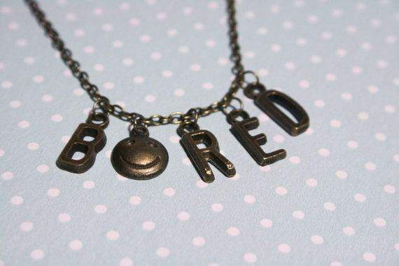 Sherlock Holmes BORED necklace by otterlydesign on Etsy, $20.00  When Sherlock is bored the walls take the hit!  Goes great together with these earrings: https://www.etsy.com/listing/121953649/bored-sherlock-earrings-with-bronze