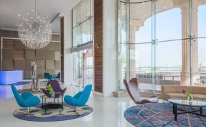 Lobby view of the Radisson Blu Plaza Hotel in Jeddah
