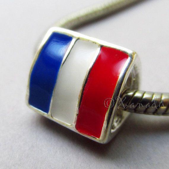 Flag Of France European Charm Bead  Franch Flag by xanaducharms, $4.95 #xanadudesigns