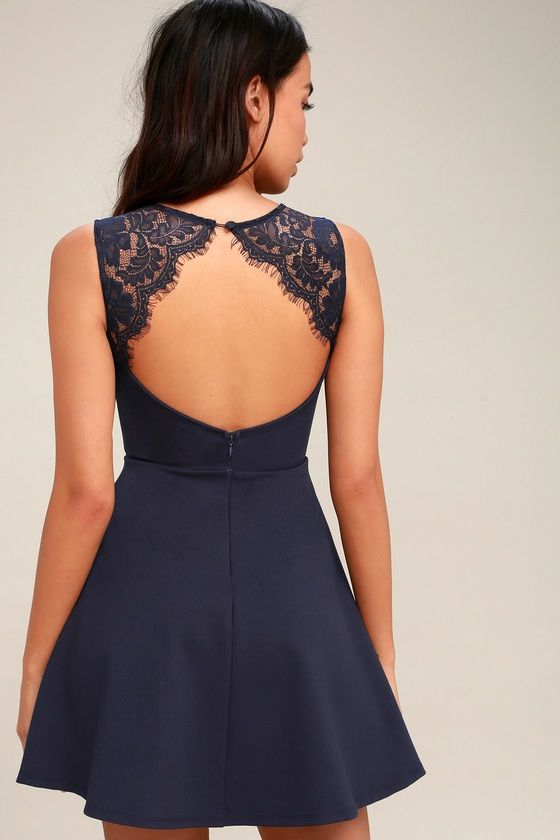 0ec793962a Need You Close Navy Blue Lace Backless Skater Dress 3