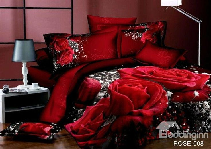 This is gorgeous, but I wonder what it looks like in real life.  Luxury Big Red Rose Realistic 3D Printed 4 Piece Bedding Sets