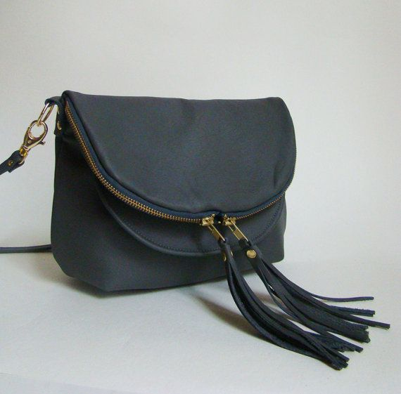 Graphite Leather Mini Fold over Day Traveler, small grey leather convertible cross body or shoulder bag