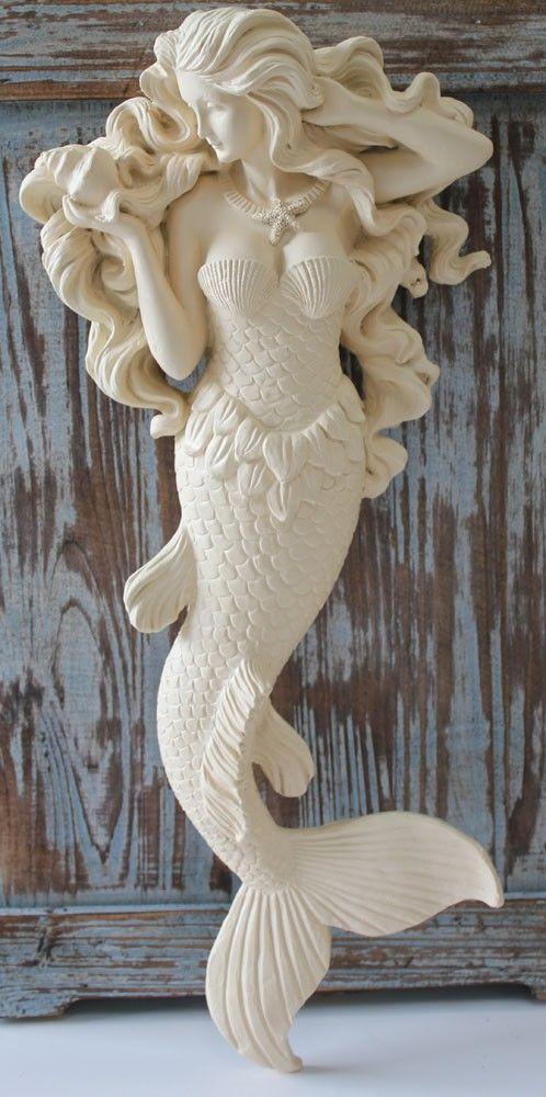 Flowing Hair Mermaid Wall Figure (http://www.caseashells.com/flowing-hair-mermaid/) #mermaiddecor, #nauticaldecor, #californiaseashellcompany